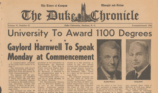 Cover of Duke Chronicle 1962 commencement issue