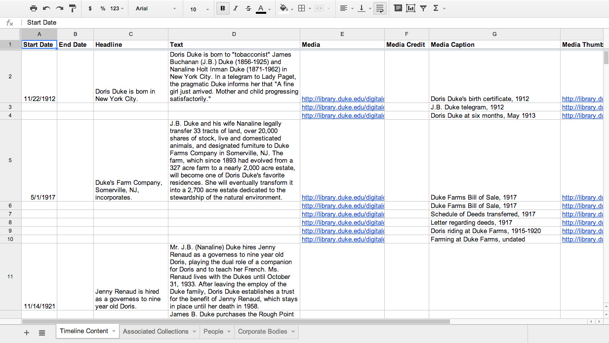 Using Google Spreadsheets with Timelines Bitstreams The Digital – Google Worksheet