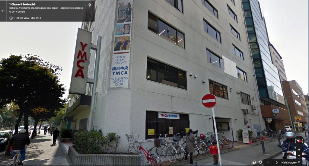 Google street view of the YMCA in Yokohama, 2011.