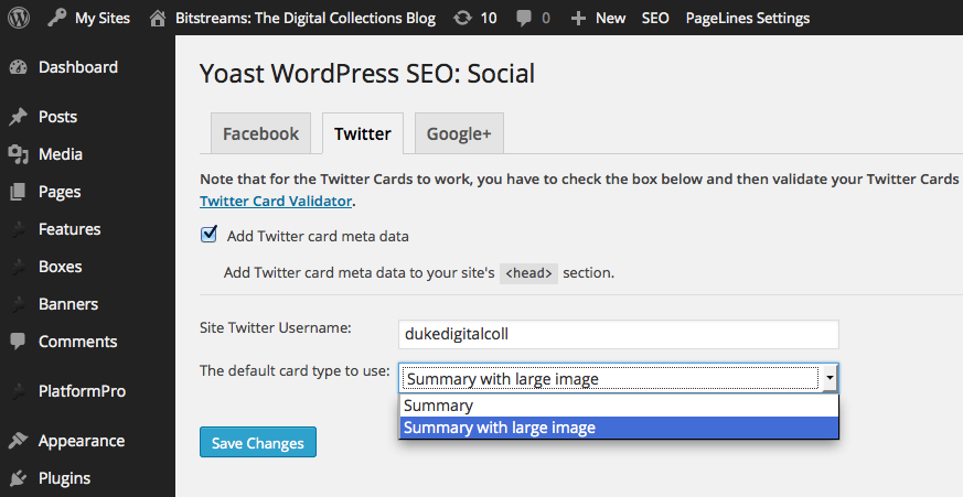 Adding Twitter Card metadata with the WordPress SEO plugin.