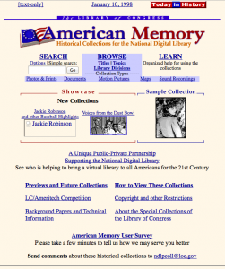 Screen capture of the American Memory home page, January 1988. From the Wayback Machine.