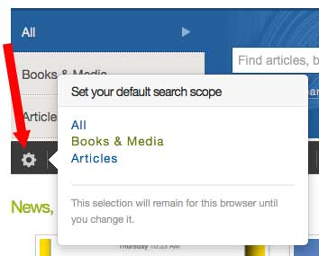 On the Libraries' homepage, you can click the gear icon to choose a different search tab as your customized default.