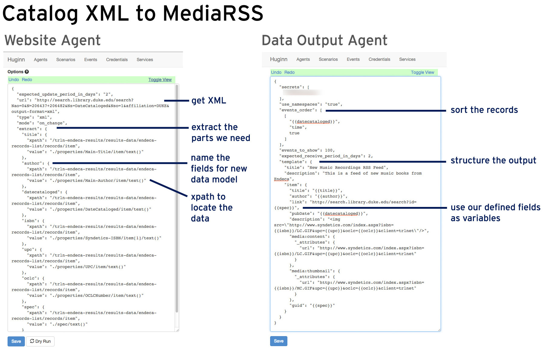Huginn Agents for converting catalog data to a media-rich RSS feed for New Additions widgets.