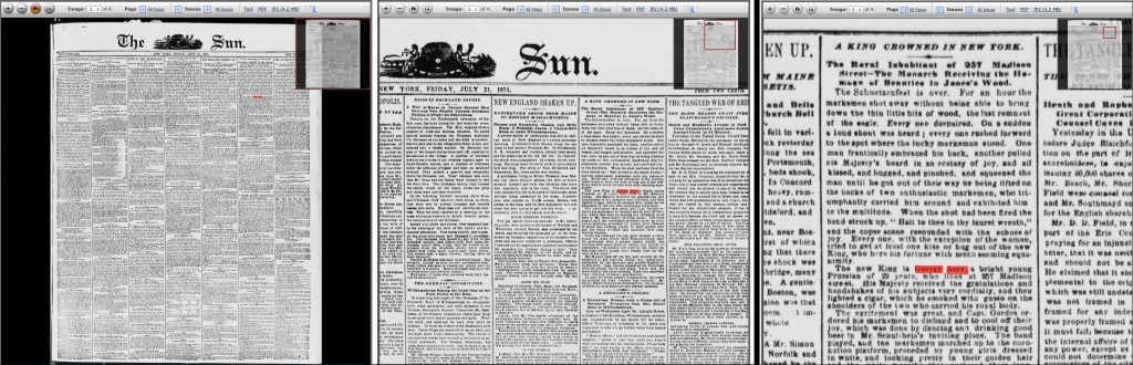 The sun. (New York [N.Y.]), 21 July 1871. Chronicling America: Historic American Newspapers. Lib. of Congress.