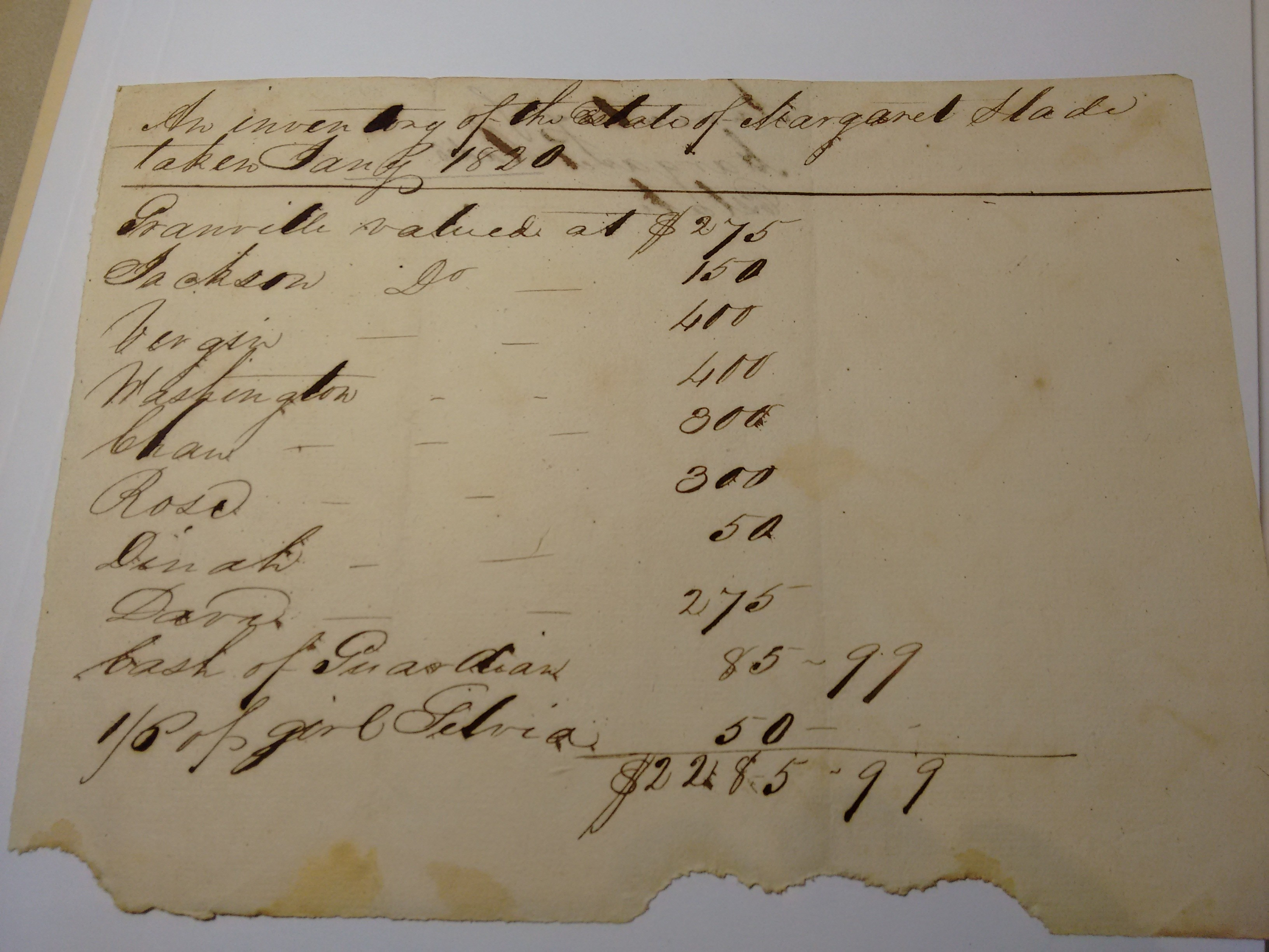 Slave valuation, 1820, in the Slade Family Papers