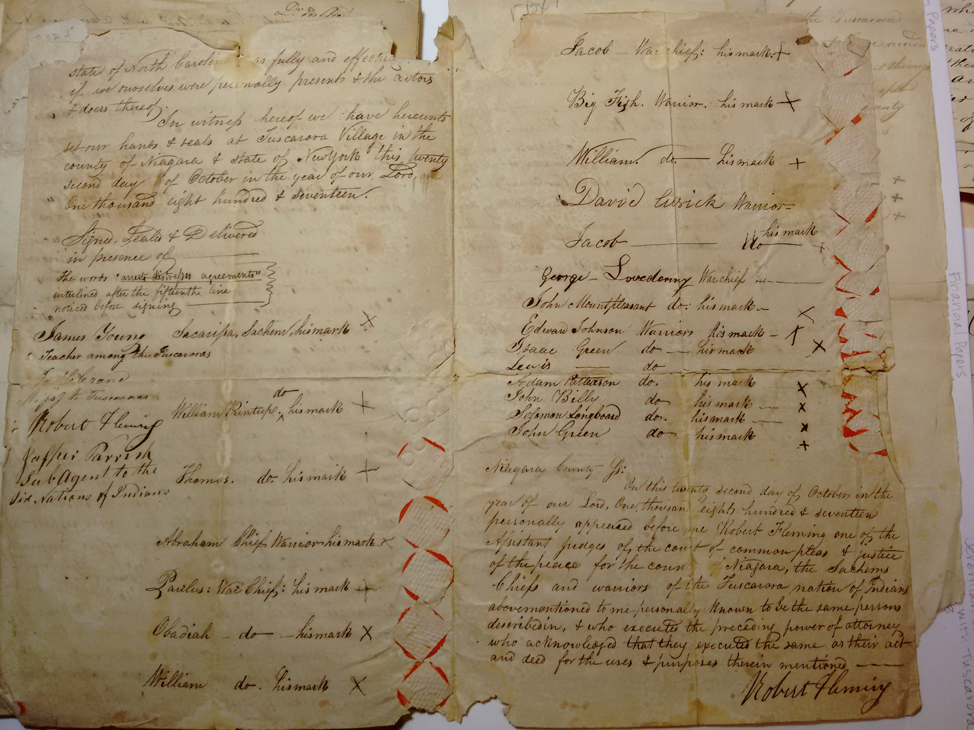 A power of attorney sent to Jeremiah Slade in 1817, signed by Tuscarora chiefs and warriors