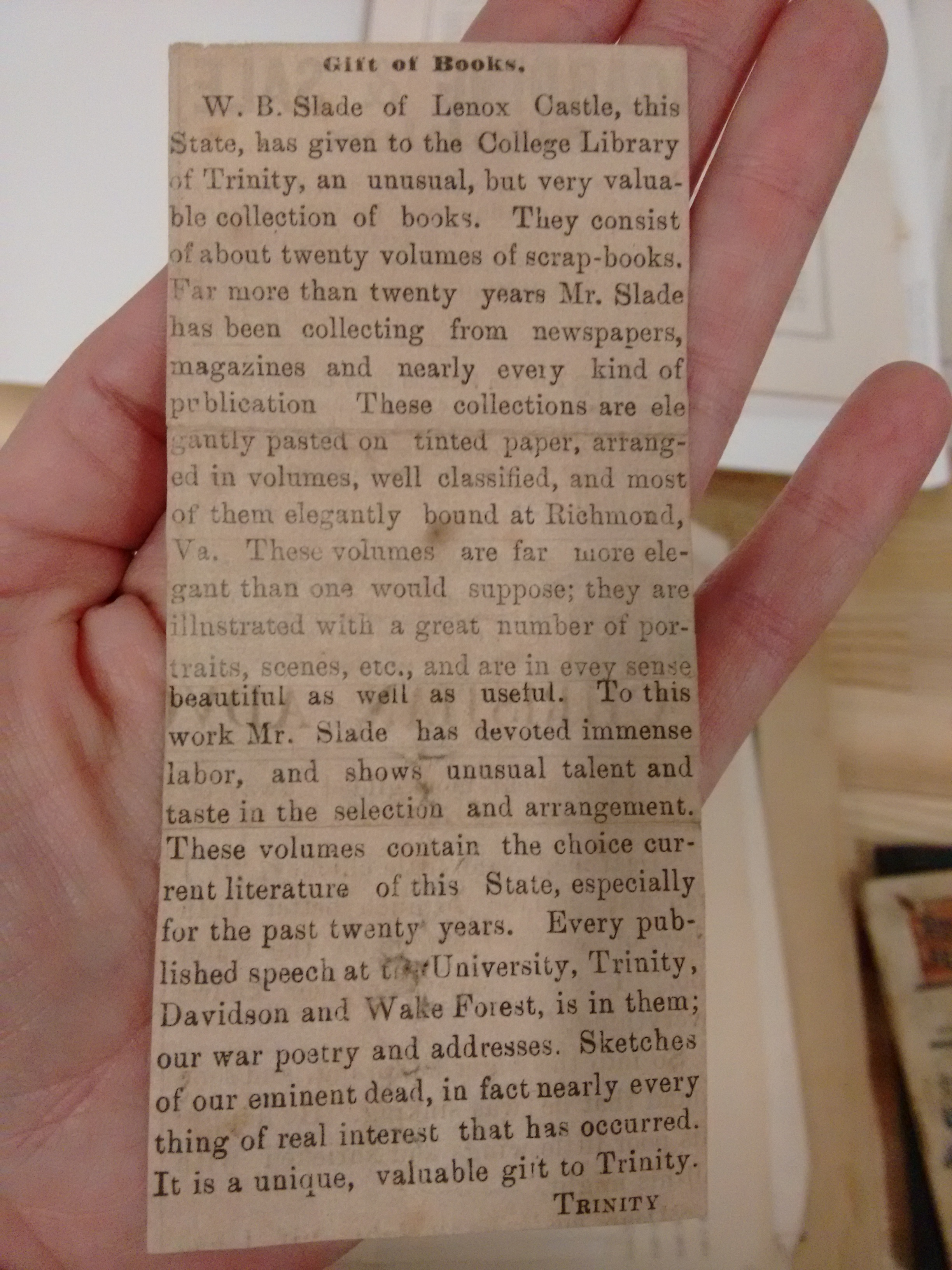 Undated clipping announcing the transfer of Slade's scrapbooks to the Trinity College Library
