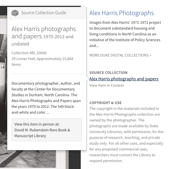A deep link to View Item in Context for an item in the Alex Harris Photographs Collection