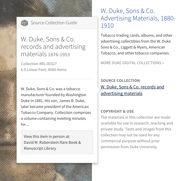 Archival source collection info presented for an item in the W. Duke & Sons collection.