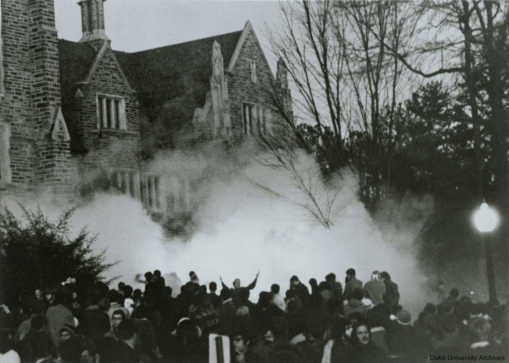 Allen Building Takeover supporters being tear-gassed, 13 February 1969