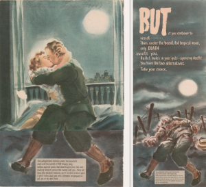 This Japanese war propaganda leaflet shows a soldier and his wife embracing under the beautiful moon... ....but when the leaflet is unfolded, you still see the soldier's undamaged legs, however he is dead on the battlefield near a barbed wire.