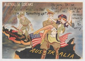 Australia screams. Japanese anti-American leaflet trying to persuade the Australians to go home because  the American soldiers staged in Australia were seducing their wives.