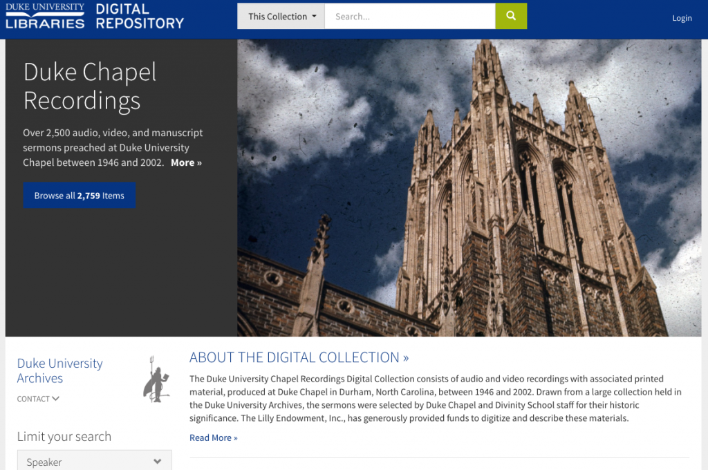 Chapel Recordings Digital Collection landing page