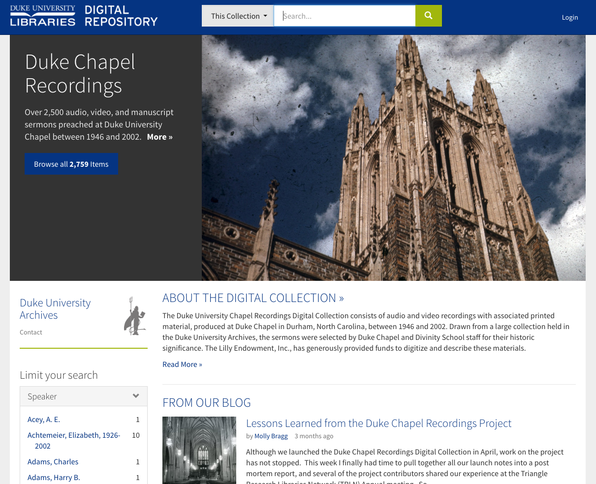 Duke Chapel Recordings Portal