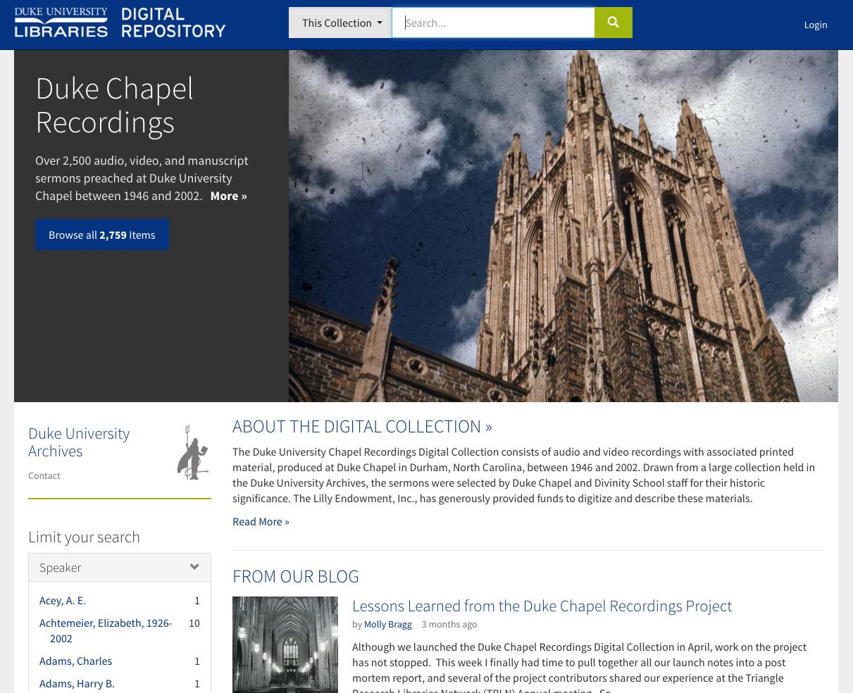 Duke Chapel Recordings Portal