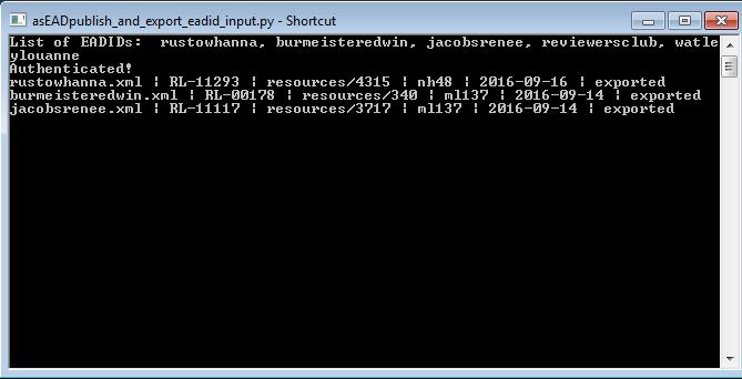 EAD Batch Export Script