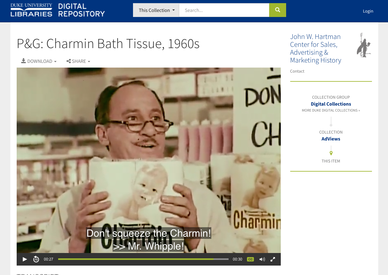 Screenshot showing Charmin commercial from AdViews collection with caption overlay