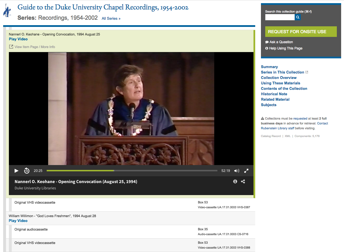 Screenshot of Rubenstein Library collection guide presenting a Duke Chapel Recordings video inline.