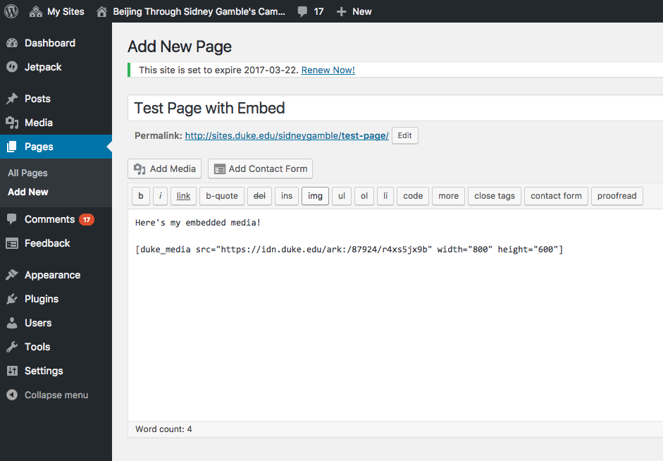 Example of WordPress shortcode for DDR embedding on Sites@Duke.edu sites.