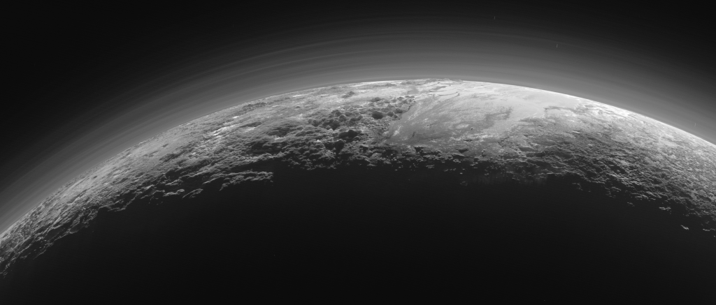 Photograph of the surface of Pluto, taken by the New Horizons spacecraft.