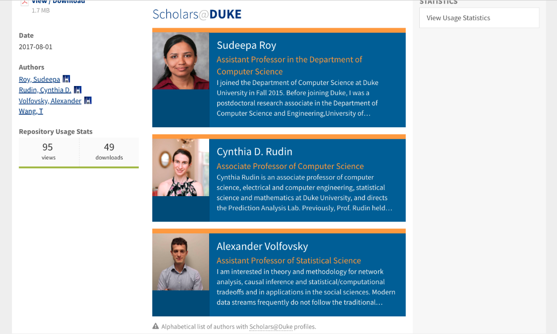 Scholars@Duke multiple author profiles in DukeSpace