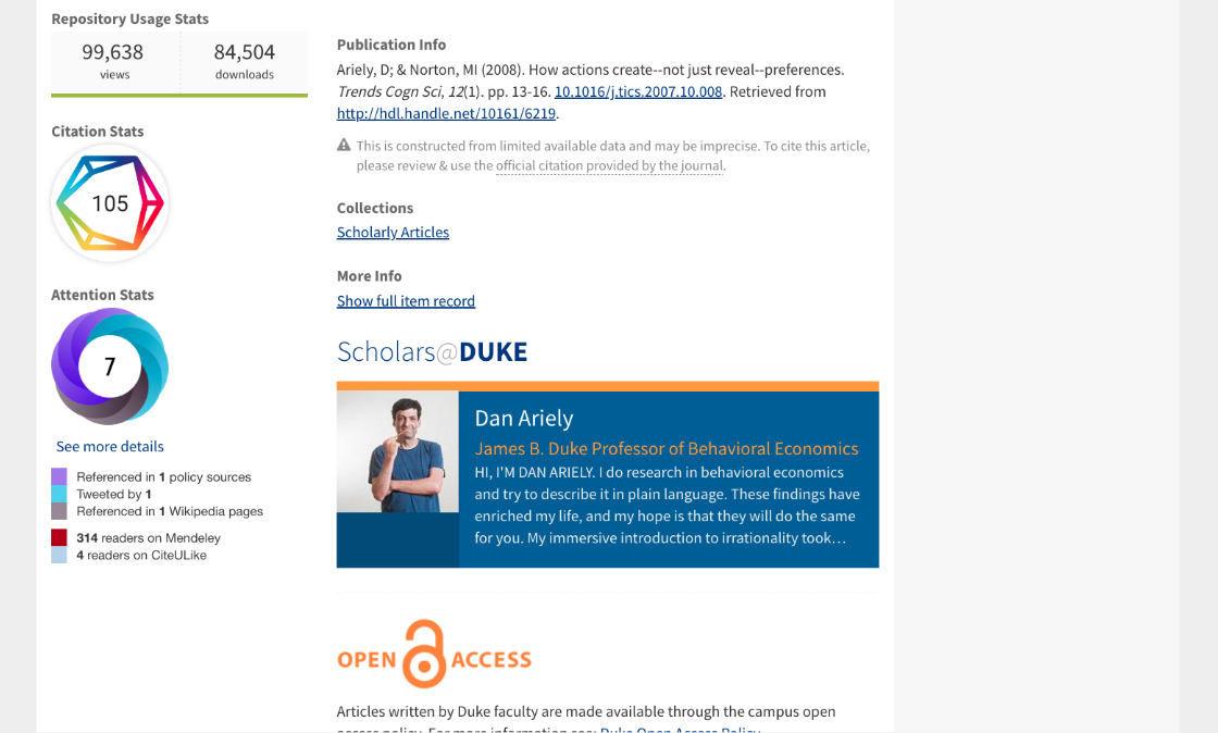 Scholars@Duke profile in DukeSpace