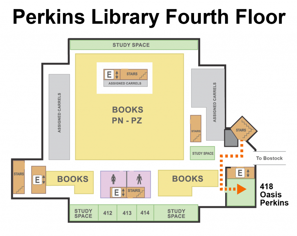 A floor plan showing the location of Oasis Perkins on the 4th Floor of Perkins Library