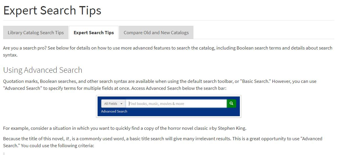 Screenshot of Search Tips webpage