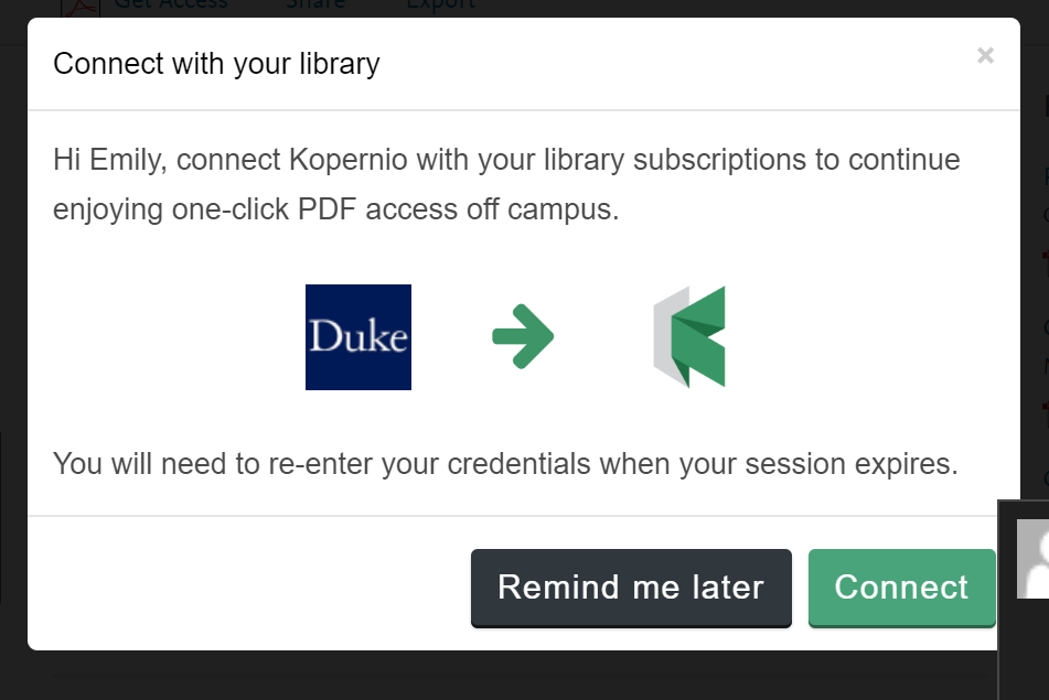 Screenshot: Kopernio sign-in page