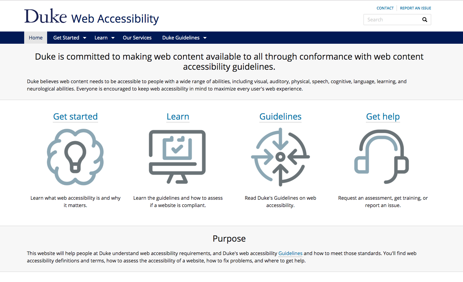 Screenshot of Duke Web Accessibility homepage