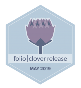 hexagon badge, image of clove flower, words folio clover release May 2019