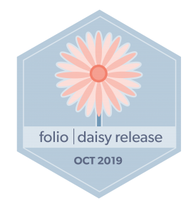 hexagon badge, image of daisy flower, words folio daisy release Oct 2019