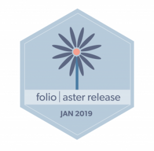 hexagon badge, image of aster flower, words folio aster release Jan 2019
