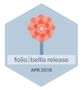 hexagon badge, image of bellis flower, words folio bellis release Apr  2019