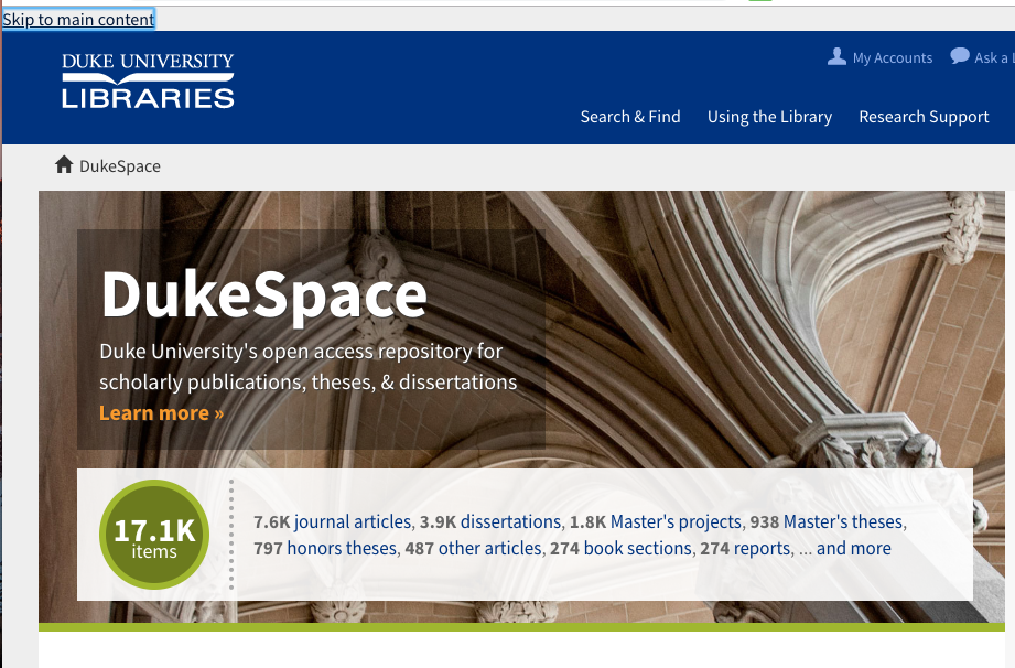 Screenshot of DukeSpace homepage showing skip to content link