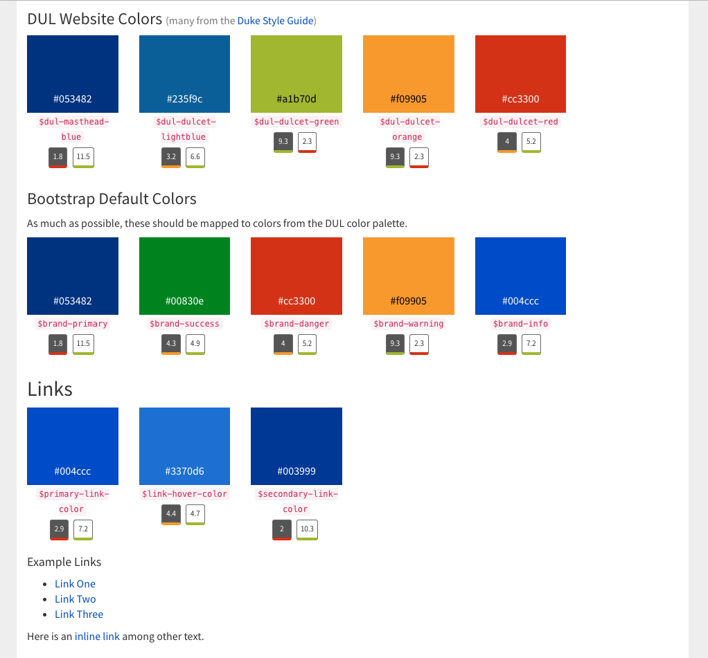 Screenshot of the library catalog style guide showing a color palette.