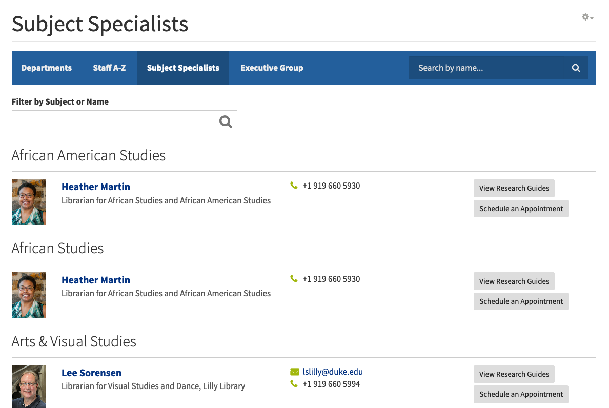 subject specialists