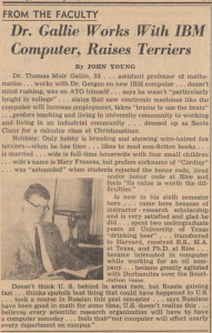 Clipping from the Chronicle of an article about Tom Gallie