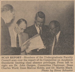 Clipping from the Duke Chronicle of the members of the Undergraduate Faculty Council