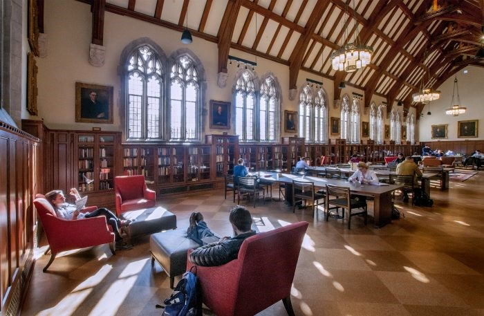 The Gothic Reading Room and portraits of white men