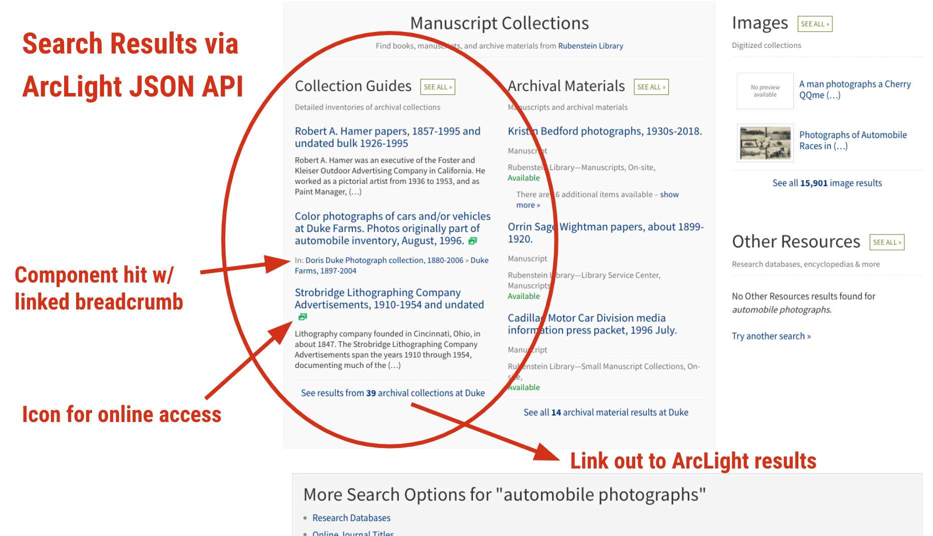 ArcLight search results presented in Bento search UI