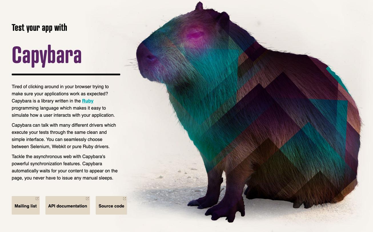 screenshot of Capybara homepage