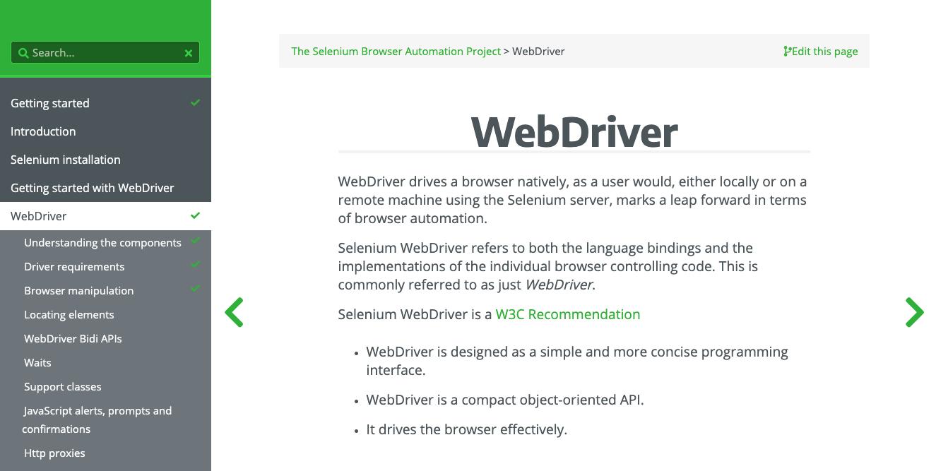screenshot of Selenium WebDriver website