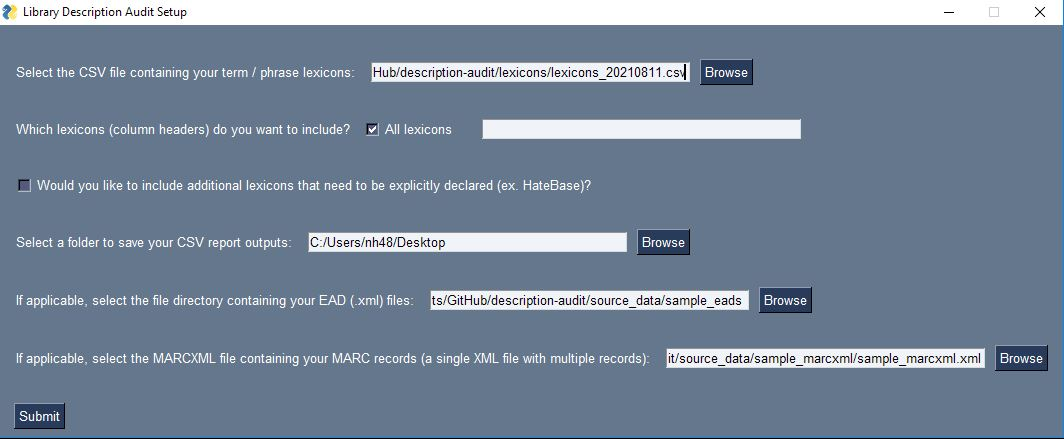 Audit Tool GUI Screenshot