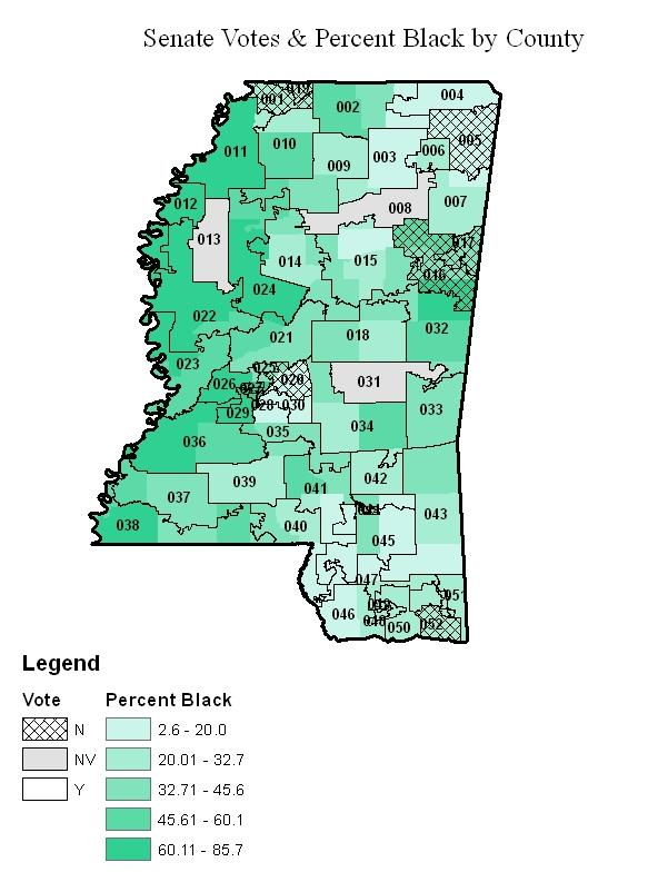 Senate Votes & Percent Black by County