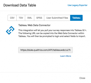 Screenshot of Tableau URL in Qualtrics