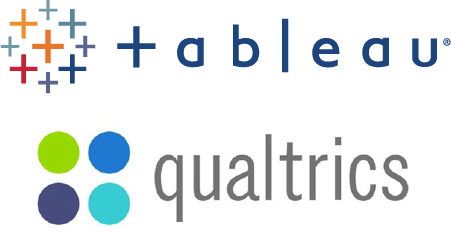 Logos for Qualtrics and Tableau