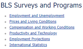 BLS Surveys and Programs