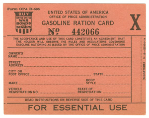 Gasoline ration card X. Unrestricted access to gasoline. There were 698,352 issued between May 15-June 30, 1942.