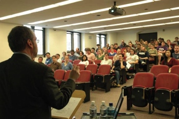 Smith addresses graduate students attending a Responsible Conduct of Research forum.